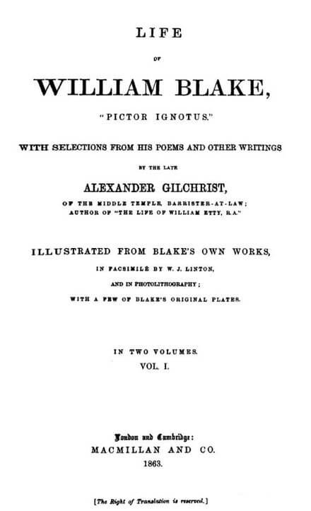Title page of Gilchrist's Life of William Blake - Pictor Ignotus.