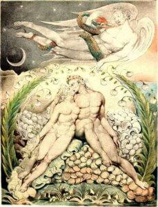 Satan watching the caresses of Adam and Eve