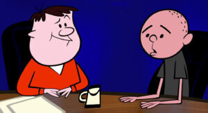 Conor Kostick and John MOlyneux as Ricky Gervais and Karl Pilkington